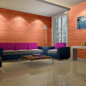 Red Color Embossed Fix Brick Sheets