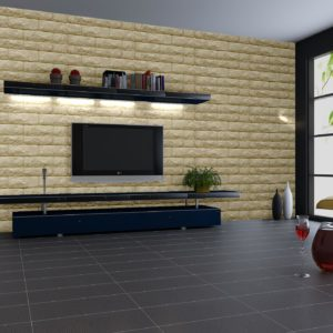 Biscuit Colour Embossed Fix Brick Sheets